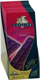Cavalier sukkerfri sjokoladeplate mørk